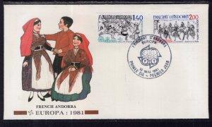 Andorra French 286-287 Europa Fleetwood U/A FDC