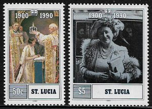 St Lucia #969-70 MNH Set - Queen Mother's 90th Birthday