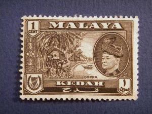 KEDAH, 1957, used 1c. black,  Copra