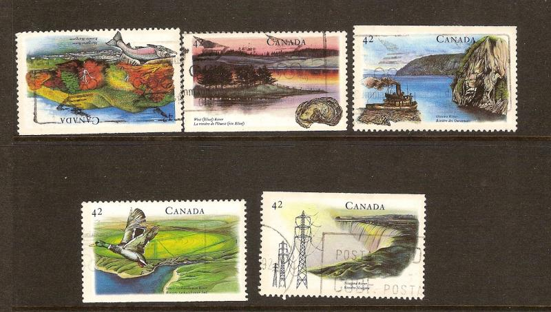 CANADIAN SET ON HERITAGE RIVERS-(2) STAMPS USED LOT#218