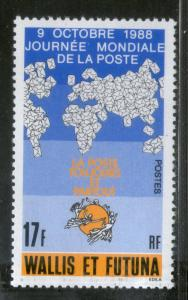 Wallis and Futuna Islands 1988 World Post Day Map Letters Sc 380 MNH # 350