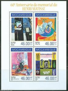 MOZAMBIQUE 2014 60th MEMORIAL  ANNIVERSARY OF HENRI MATISSE SHEET  MINT NH