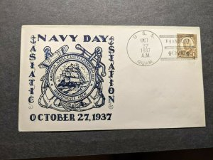 USS GUAM PR-3 Naval Cover 1937 RICHELL NAVY DAY Cachet HANKOW, CHINA
