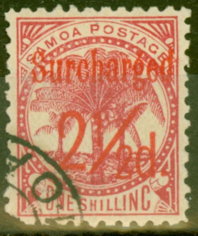 Samoa 1898 2 1/2d on 1s Dull Rose-Carmine SG85 Fine Used