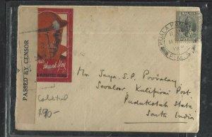 MALAYA PERAK   (PP1008B) COVER 1940 SULTAN 8C CENSOR+PATRIOTIC LABEL TO INDIA
