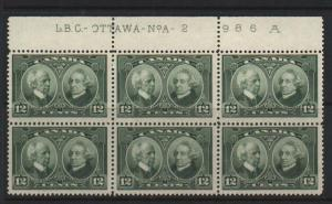 Canada #147 VF/NH Plate #2 Block Of Six