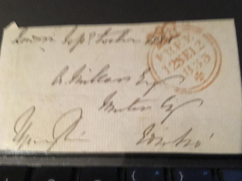 Great Britain 1835 Front With Signature of SpringRice Br. St. Penny Post