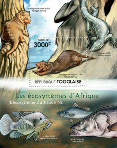 Togo MNH S/S African Wildlife & Marine Life Of Nile River 2011