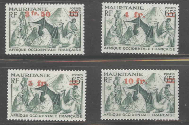 FRENCH West Africa SCOTT 4-7 MH* Mauritanie overprints