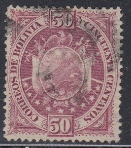 Bolivia 1894 50c Claret on Thin Paper Used. Scott 45