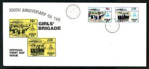 Jamaica, Scott cat. 786-787. Girls Brigade Anniv. issue. Long First day cover. ^