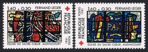 France B539-B540,MNH.Michel 2295-2296. Red Cross-1981.Church Sacred Heart.