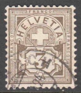 SWITZERLAND 114 PERF 11-1/2 GRANITE PAPER $140 SCV CDS VF SOUND