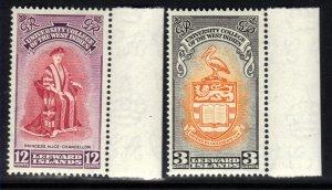 Leeward Islands 1951 KGV1 Set Inauguration BWI College Umm SG 123 - 124 ( F256 )