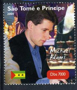 Sao Tome & Principe 2004 CHESS MASTER MICHAEL ADAMS set Perforated Mint (NH)