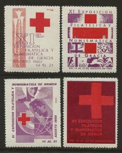 Spain Red Cross 1960 Stamp Exhibition Cinderella Poster Seals Set-Serie B. VF-NH