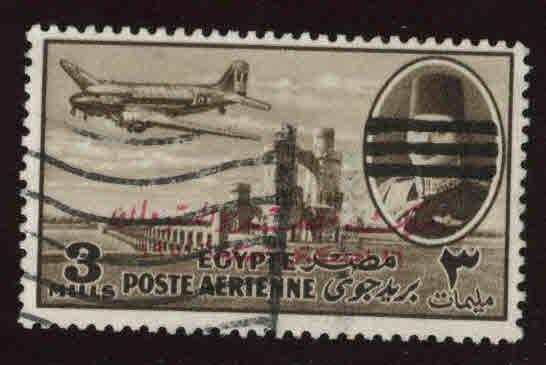 EGYPT Scott C79 Used 1953 Bar obliterated and overprinted airmail