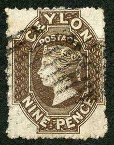 Ceylon SG69b 9d Blackish Brown Wmk Crown CC Used