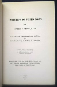 EVOLUTION OF WORLD POSTS 1954  inc. Catalogs CHARLES F. MERONI Postal Markings