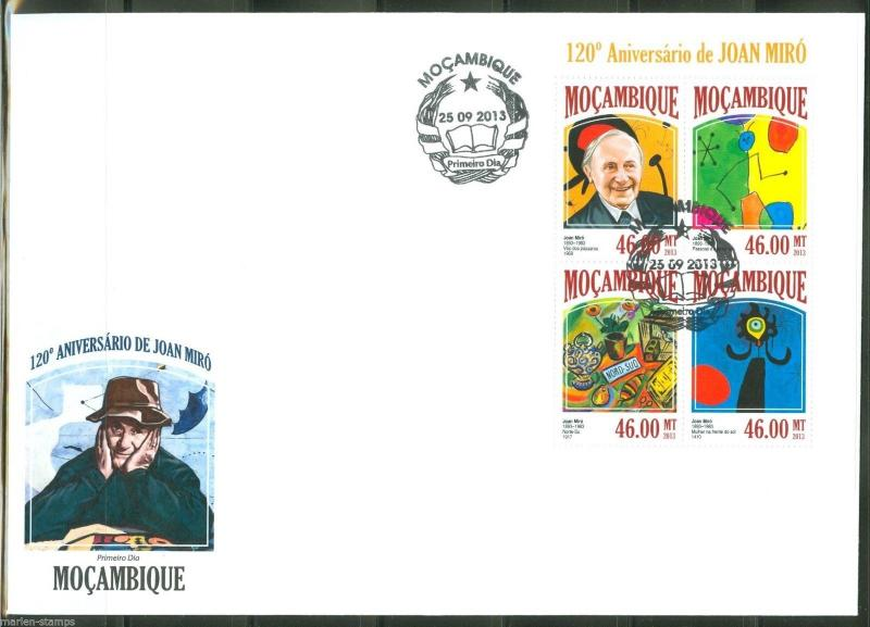 MOZAMBIQUE  2013 120th BIRTH OF JOAN MIRO SHEET FIRST DAY COVER