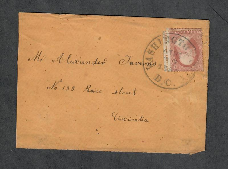 US Sc#25a Plated Pos #60L5L Washington DC Aug 22 1857 CDS, Cv. $950