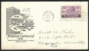 Doyle's_Stamps: 1936 Arkansas Centennial First Day Cover, Scott #782