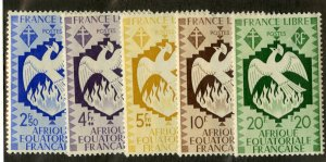 FRENCH EQUATORIAL AFRICA 151-5 MH SCV $6.00 BIN $2.50 BIRD