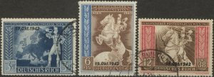 Stamp Germany Mi 823-5 Sc B212-4 1942 WWII Reich Vienna Horse Axis Powers Used