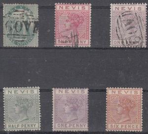 Nevis Scott 12,22,23 Used and 19,21,24 Mint hinged (Catalog Value $212.50)