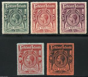 FALKLAND ISLANDS SCOTT#36/40  STANLEY GIBBONS #66/69 & 67a   MINT LH