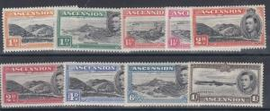 ASCENSION 1938 - 53  VARIOUS VALUES 1D TO 1/-   MH