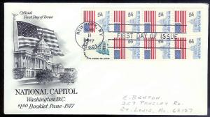 UNITED STATES FDC National Capitol B'klet Pane 1977 Artcraft