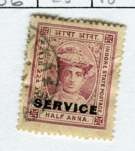 INDIAN STATES; INDORE 1904-06 early local issue used hinged SERVICE 1/2a. value