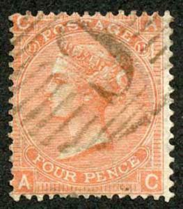 British Levant SG Z92 4d Vermilion Plate 11 with Constantinople C Postmark