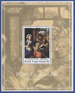 BRITISH VIRGIN ISLANDS Sc 736 $2 Christmas 1991, S/S, MNH VF, Art Painting