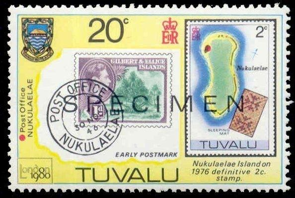 Tuvalu 1980 20c London Stamp Expo  w/ SPECIMEN Ovpt (Scott # 434)
