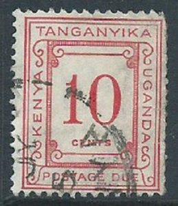 Kenya, Uganda & Tanganyika, Sc #J8, 10c Used