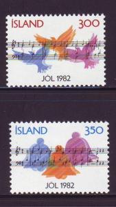 Iceland Sc 565-66 1982 Christmas stamp set mint NH