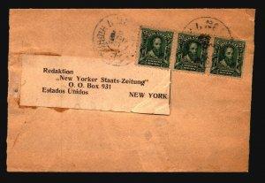 Brazil 1906 Wrapper to NY / SC# 176 Strip of 3 / Minor Tears - Z19390