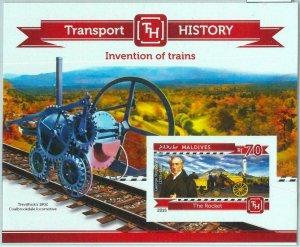 A1004 - MALDIVES -  IMPERF, Souvenir s: 2015, Trains, Stephenson, Transport