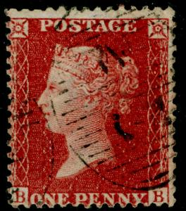 SG41, 1d dp rose-red PLATE 42, LC14, FINE USED. Cat £20. BB