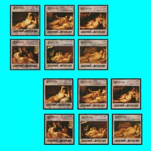 Art Goya Renoir Guinea Bissau 2005 Nudes Michel 3049-3054 perforated+imperforate