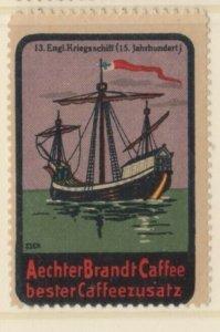 Germany History of Ships #13 English Battleship 15th Century NG Artist F. Seck