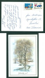 Denmark. Christmas Card 1990. Seal+ 3.50 Kr. Kolding. Town,Creek,Trees,Winter