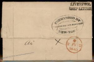USA 1840 Venezuela NY Forwarding Agent England Cover Liverpool Ship Transa 92185