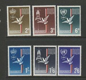 Malta 1964 Independence set UM/MNH SG 321/6