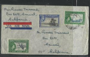 GILBERT AND ELLICE ISLANDS (PP0103B)  KGVI 2/6+3D+ QEII 1/2D A/M TO USA