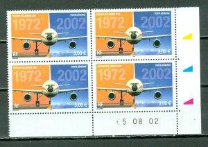 FRANCE 2002  A300 #C64 IMPRINT CORNER BLK...MNH... FACE 12euros