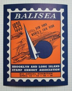 BALISEA 1939 NY Worlds' Fair Brooklyn Long Island Club Philatelic Souvenir Ad