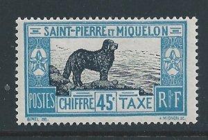 St. Pierre & Miquelon #J26 MH 45c Newfoundland Dog Postage Due
